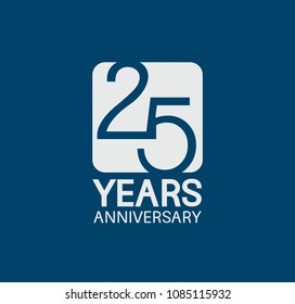 25 years anniversary design blue color with white square for company celebration