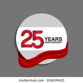 25 years anniversary design in circle red ribbon for celebration event
