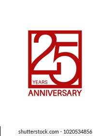 25 years anniversary design logotype with red color in square isolated on white background for celebration