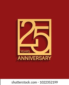 25 years anniversary design logotype golden color in square isolated on red background for celebration event