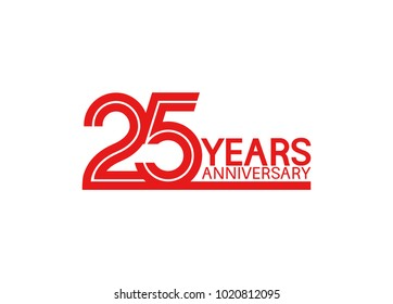 25 years anniversary design with red multiple line style isolated on white background for celebration