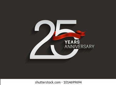 25 years anniversary design with silver color and red ribbon isolated on black background for celebration event