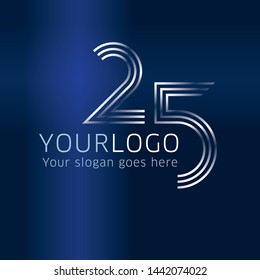 25 years anniversary design template for company logo on blue gradient background for company celebration event.