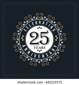 25 years anniversary design template. Vector and illustration. celebration anniversary logo. classic, vintage style