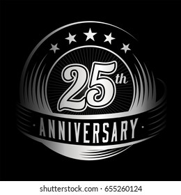 25 years anniversary design template. Vector and illustration. 25th logo.