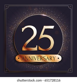 25 years anniversary gold banner on dark background. Vector illustration.