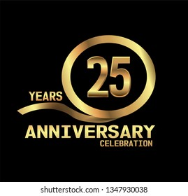 25 years Anniversary with golden font and circle with golden ribbon and black design. Simple design anniversary. golden font in center golden cirlce