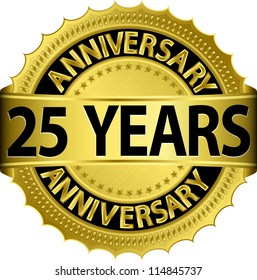 25 years anniversary golden label with ribbon, vector illustration