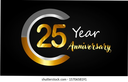 25 years anniversary golden and silver color with circle ring isolated on black background for anniversary celebration event