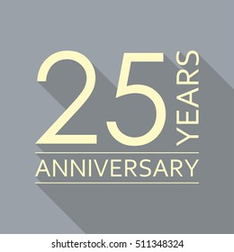 25 years anniversary icon. Anniversary decoration template. Vector illustration.