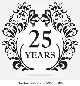 25 years anniversary icon in ornate frame with floral elements. Template for celebration and congratulation design. 25th anniversary label. Vector illustration.