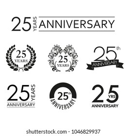 25 years anniversary icon set. 25th anniversary celebration logo. Design elements for birthday, invitation, wedding jubilee. Vector illustration.