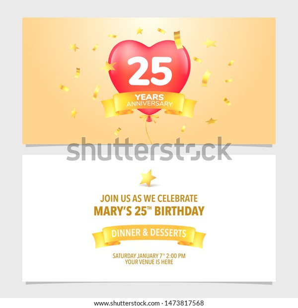 25 Years Anniversary Invitation Card Vector Stock Vector