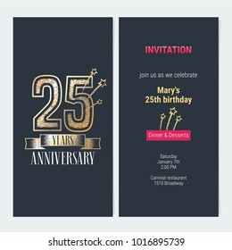 25 years anniversary invitation to celebration event vector illustration. Design with gold  number and bodycopy for 25th birthday card, party invite