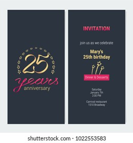25 years anniversary invitation to celebration vector illustration. Graphic design element with elegant background for 25th birthday card, party invite