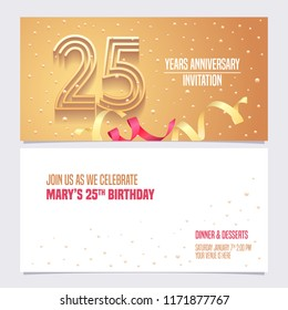 25 years anniversary invitation vector illustration. Design element with golden abstract background for 25th birthday card, party invite