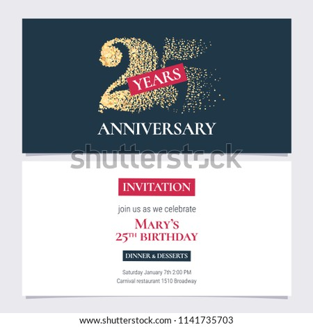 25 Years Anniversary Invitation Vector Illustration Design Template With Golden Number For 25th Party