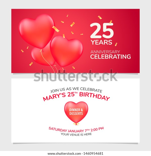 25 Years Anniversary Invitation Vector Illustration Stock
