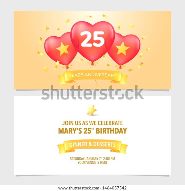 25 Years Anniversary Invitation Vector Illustration