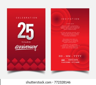 25 Years Anniversary Invitation/Greeting Card with Flat Design and Elegant, Isolated on Red Background. Vector illustration.