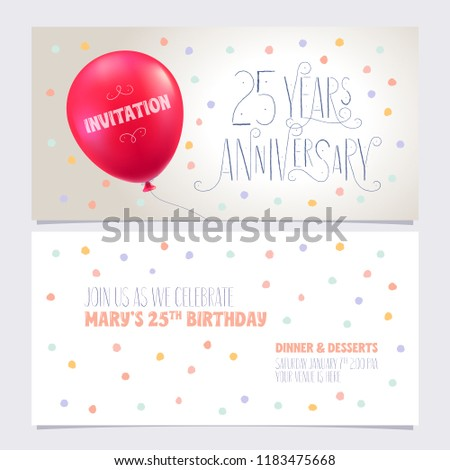 25 Years Anniversary Invite Vector Illustration Graphic Design Element With Air Balloon For 25th Birthday Card Party Invitation