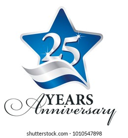 25 years anniversary isolated blue star flag logo icon