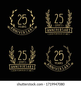 25 years anniversary logo collection. 25th years anniversary celebration hand drawn logotype. Vector and illustration.