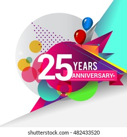 25 years Anniversary logo, Colorful geometric background vector design template elements for your birthday celebration.