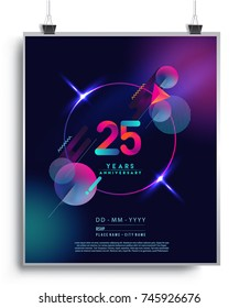 25 Years Anniversary Logo with Colorful Galactic background, Vector Design Template Elements for Invitation Card and Poster Your Birthday Celebration.