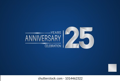 25 years anniversary logo with elegance silver color isolated on blue background for celebration event