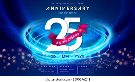 25 years anniversary logo template on dark blue Abstract futuristic space background. 25th modern technology design celebrating numbers with Hi-tech network digital technology concept design elements.