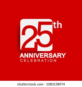 25 years anniversary logo with white square isolated on red background simple and modern design for anniversary celebration.