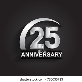 25 years anniversary logotype design with silver color isolated on black background for company celebration