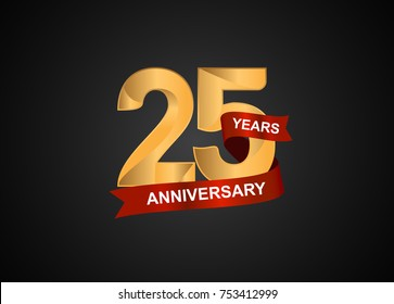 25 years anniversary logotype with elegance gold color and warp red ribbon