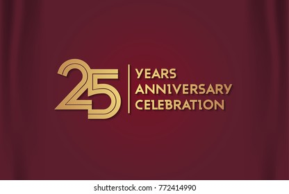 25 Years Anniversary Logotype with  Golden Multi Linear Number Isolated on Red Curtain Background