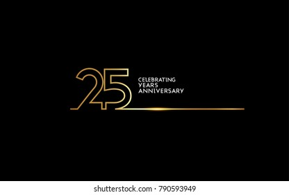 25 Years Anniversary logotype with golden colored font numbers made of one connected line, isolated on black background for company celebration event, birthday