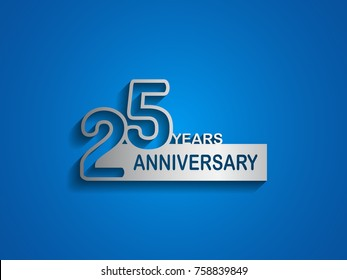 25 years anniversary logotype with outline number silver color on blue background