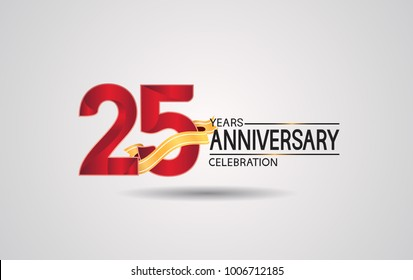 25 years anniversary logotype with red color and golden ribbon isolated on white background for celebration event