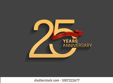 25 years anniversary logotype with red ribbon and golden color for celebration event