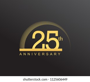 25 years anniversary logotype with single line golden color and golden ring for anniversary celebration