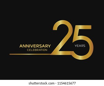 25 years anniversary logotype with single line golden and silver color for celebration
