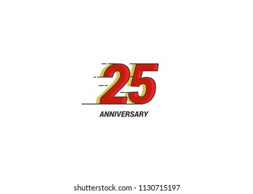 25 Years Anniversary logotype with white flat red colored font for company celebration event, birthday