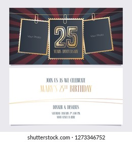 25 years anniversary party invitation vector template. Illustration with photo frames for 25th birthday card, invite