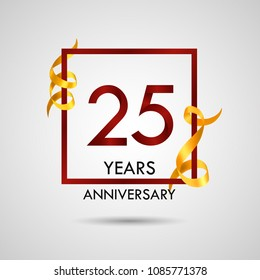 25 years anniversary with red number design inside red square and golden ribbon element, isolated on white background can be used as celebration card