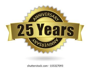 """25 Years Anniversary"" - Retro Golden Ribbon, EPS 10 vector illustration"