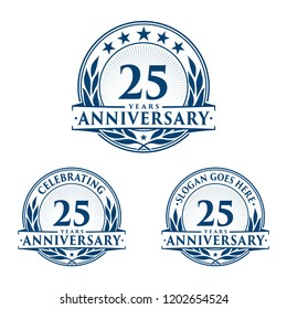 25 years anniversary set. 25th celebration logo collection. Vector and illustration.