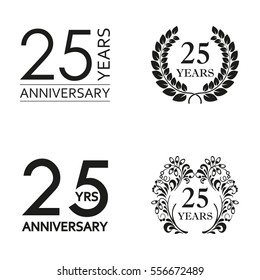 25 years anniversary set. Anniversary icon emblem or label collection. 25 years celebration and congratulation decoration element. Vector illustration.