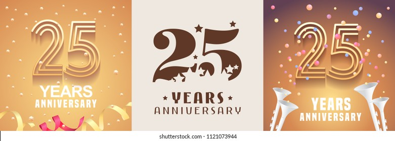 25 years anniversary set of vector icon, symbol. Graphic design element with festive golden background for 25th anniversary