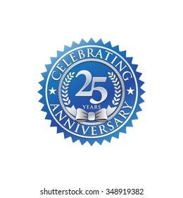 25 years anniversary silver blue badge logo