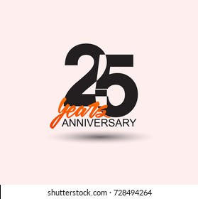 25 years anniversary simple design with negative style and yellow color isolated in white background